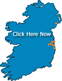 A coloured image of Ireland with orange dots to represent clinic locations